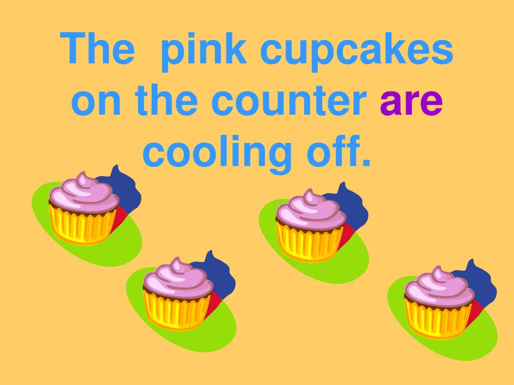 The  pink cupcakes on the counter