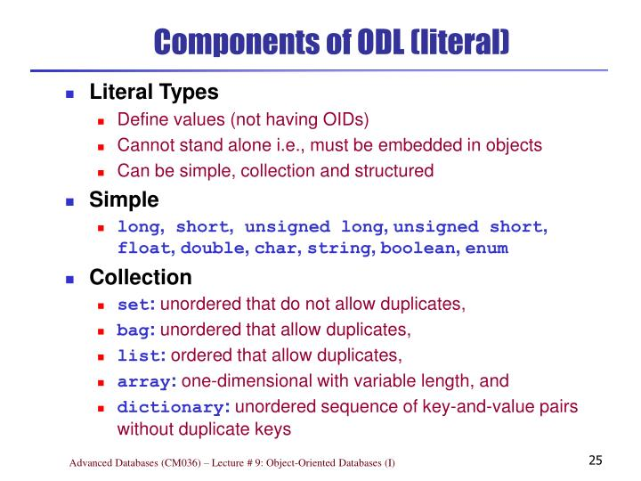 Components of ODL (literal)