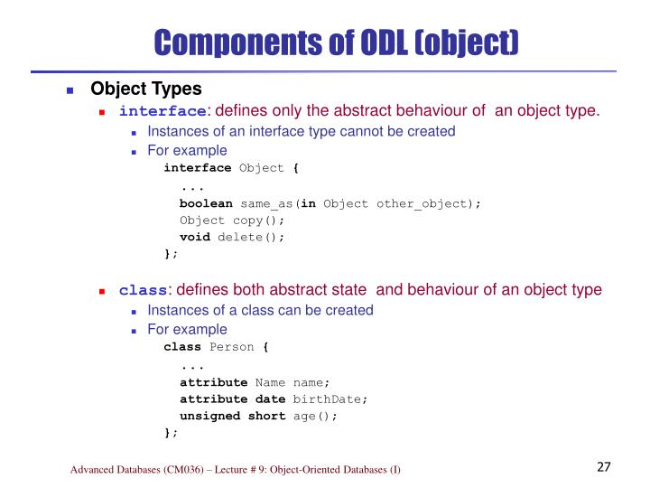 Components of ODL (object)