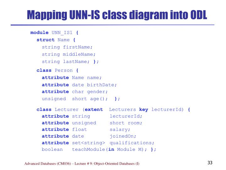 Mapping UNN-IS class diagram into ODL