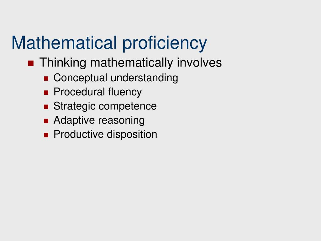 Mathematical proficiency