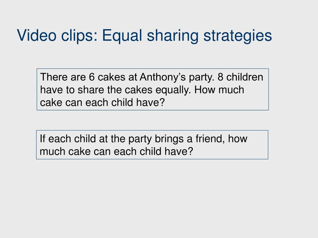 Video clips: Equal sharing strategies