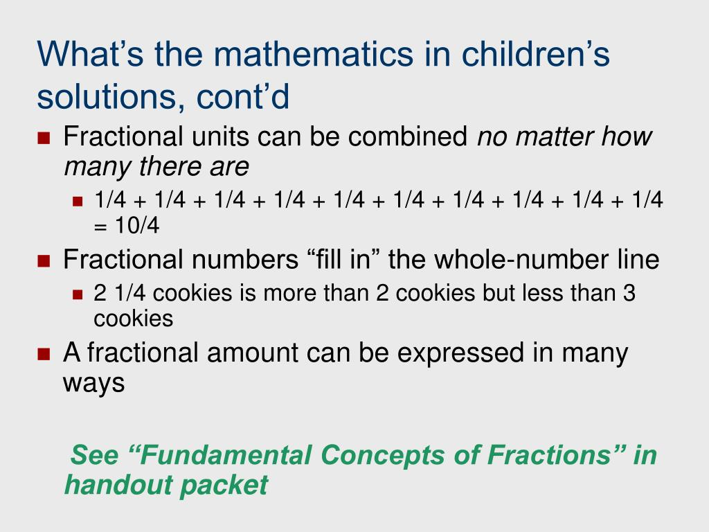 What's the mathematics in children's solutions, cont'd