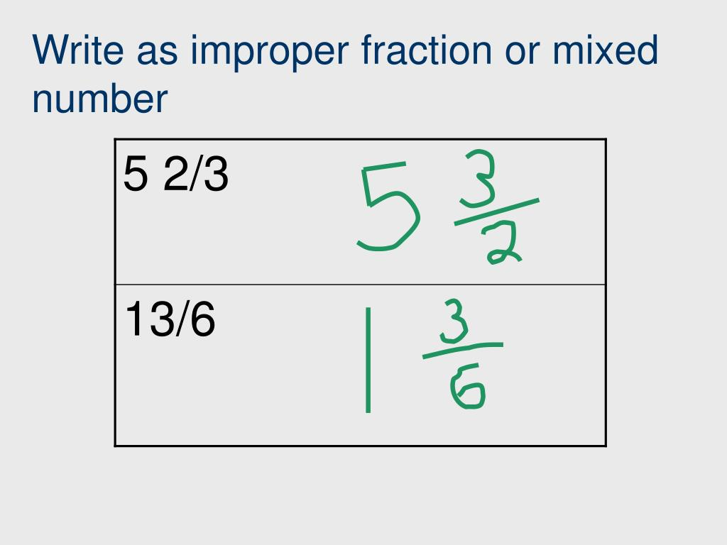 Write as improper fraction or mixed number