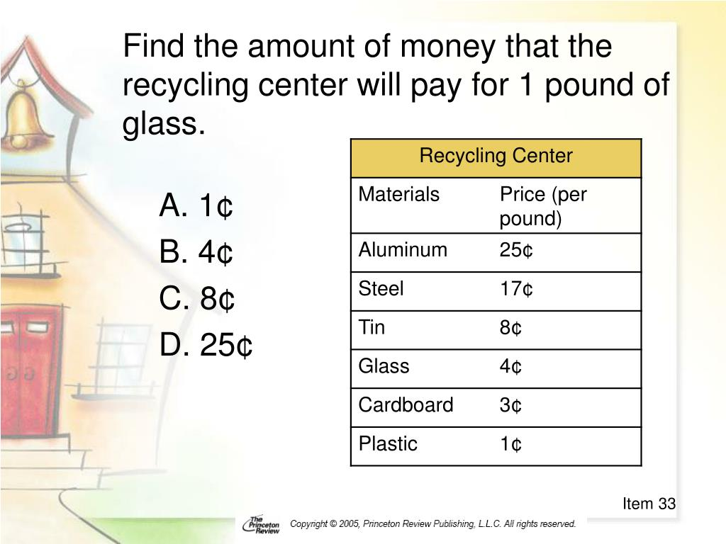 Find the amount of money that the recycling center will pay for 1 pound of glass.