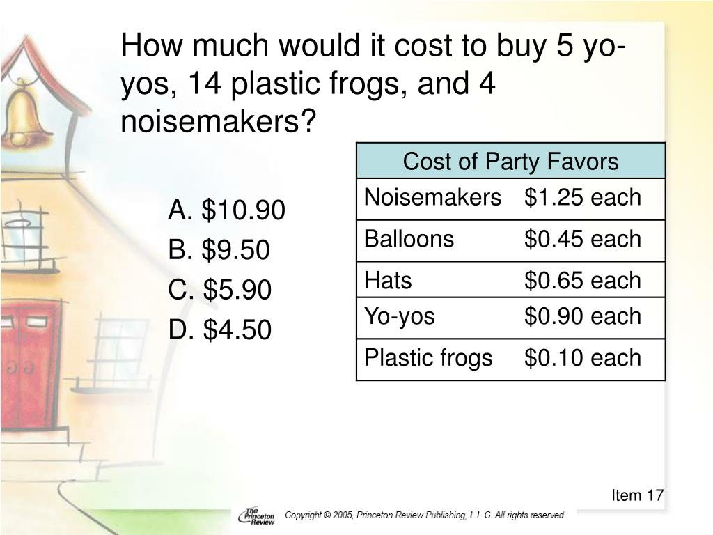 How much would it cost to buy 5 yo-yos, 14 plastic frogs, and 4 noisemakers?