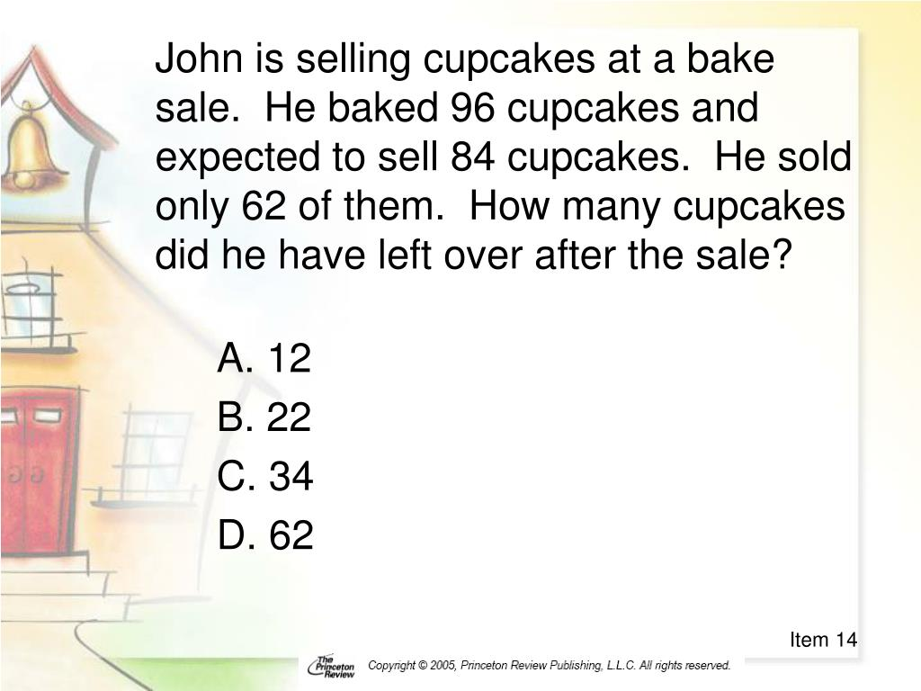John is selling cupcakes at a bake sale.  He baked 96 cupcakes and expected to sell 84 cupcakes.  He sold only 62 of them.  How many cupcakes did he have left over after the sale?