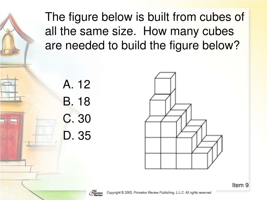 The figure below is built from cubes of all the same size.  How many cubes are needed to build the figure below?
