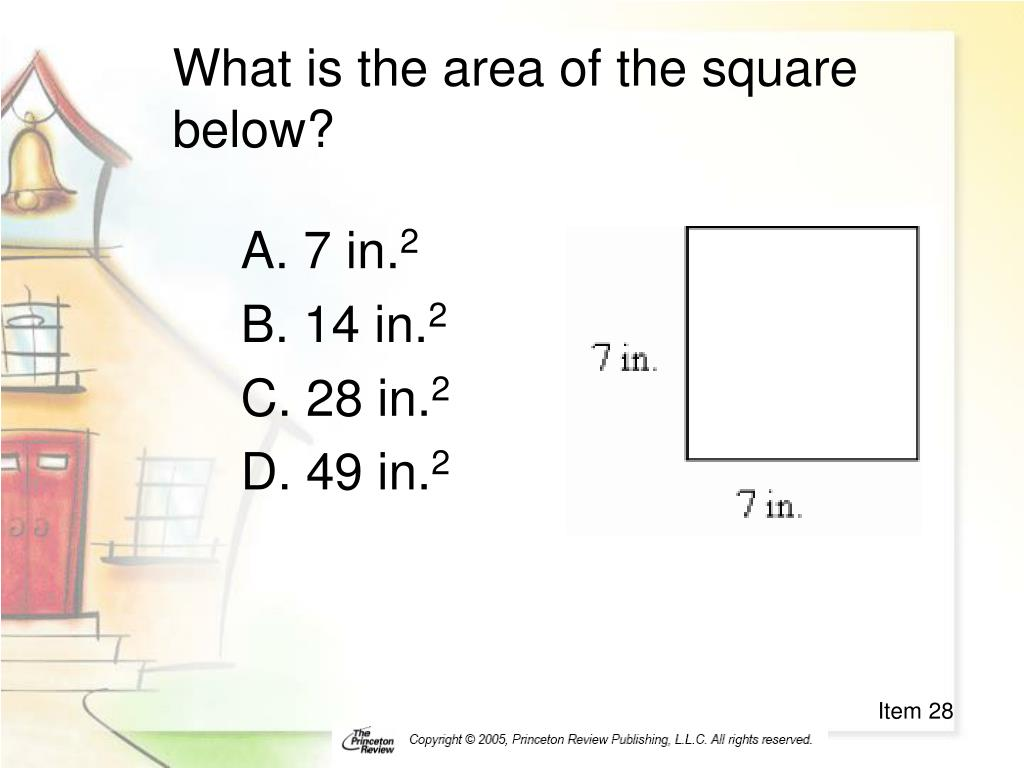 What is the area of the square below?
