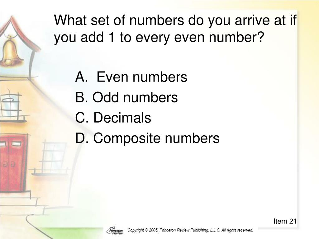 What set of numbers do you arrive at if you add 1 to every even number?
