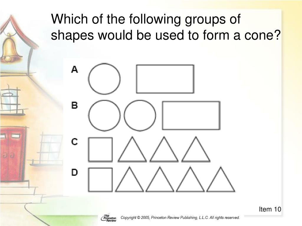 Which of the following groups of shapes would be used to form a cone?