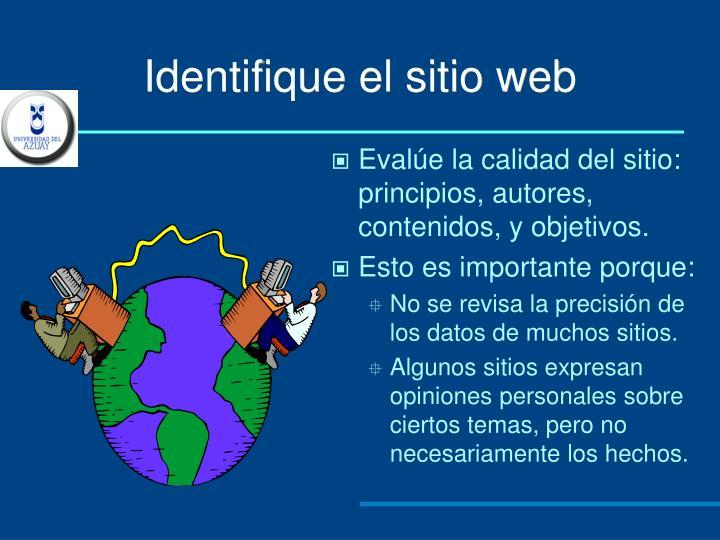 Identifique el sitio web