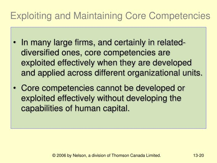 Exploiting and Maintaining Core Competencies