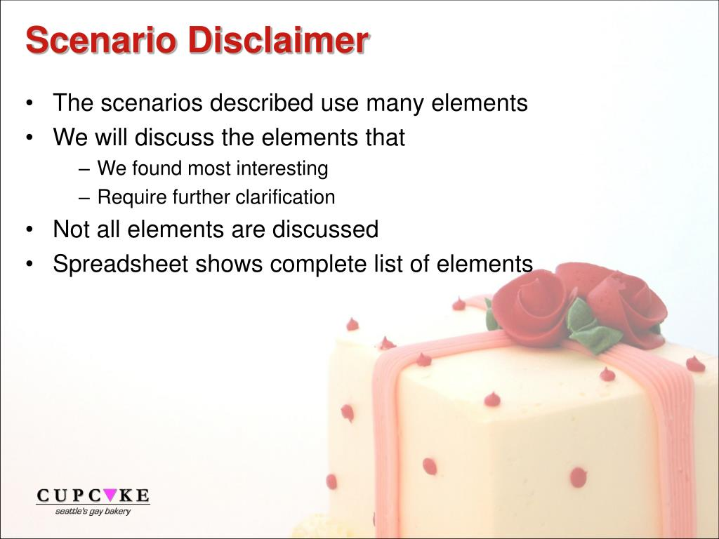 Scenario Disclaimer