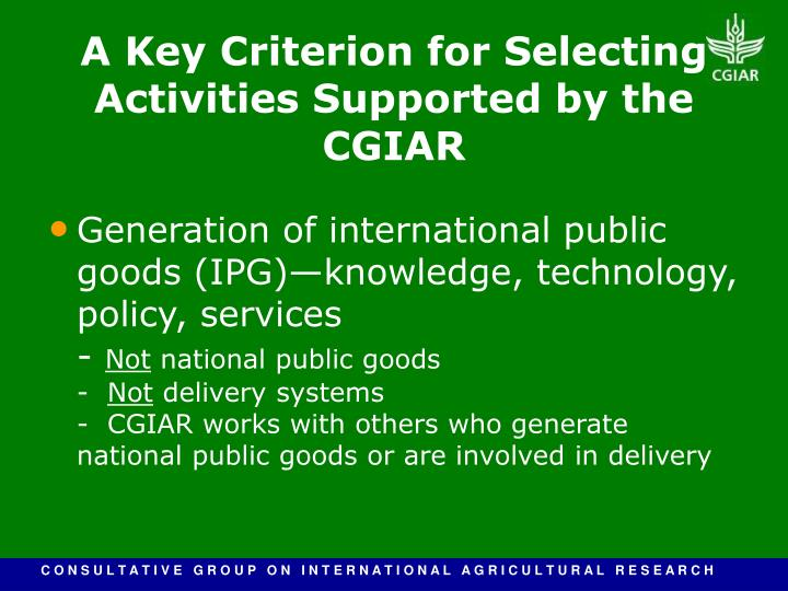 Generation of international public goods (IPG)—knowledge, technology, policy, services