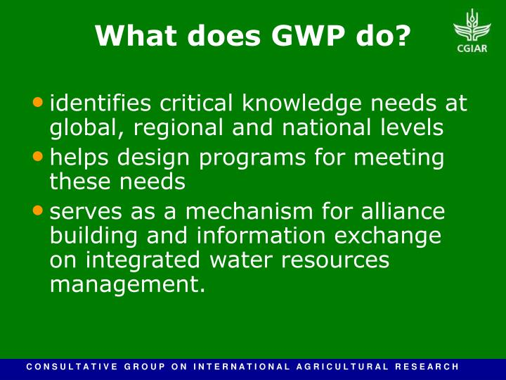 identifies critical knowledge needs at global, regional and national levels