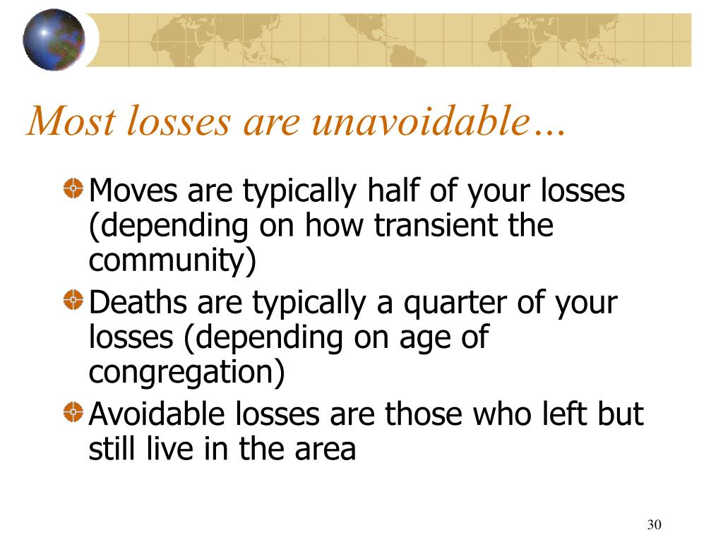 Most losses are unavoidable…