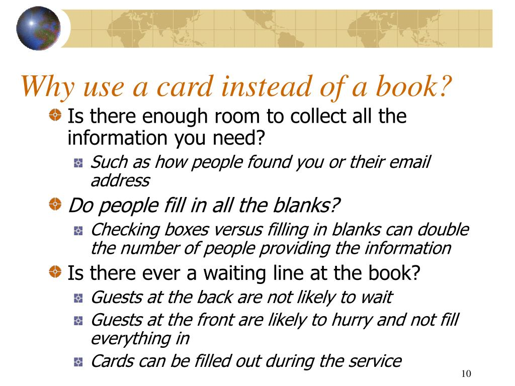 Why use a card instead of a book?