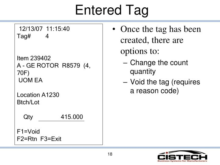 Once the tag has been created, there are options to: