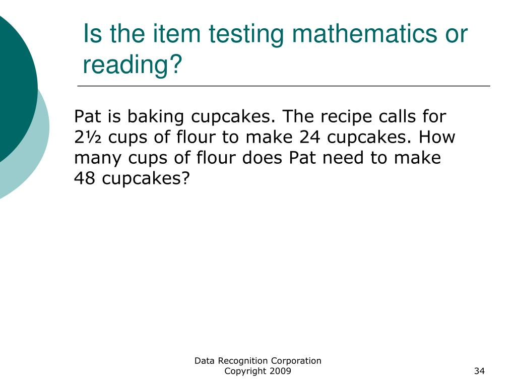 Is the item testing mathematics or reading?