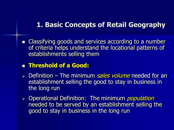 1 basic concepts of retail geography