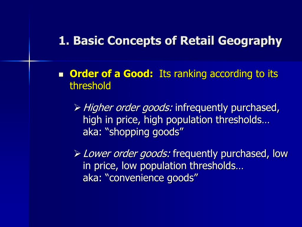 1. Basic Concepts of Retail Geography