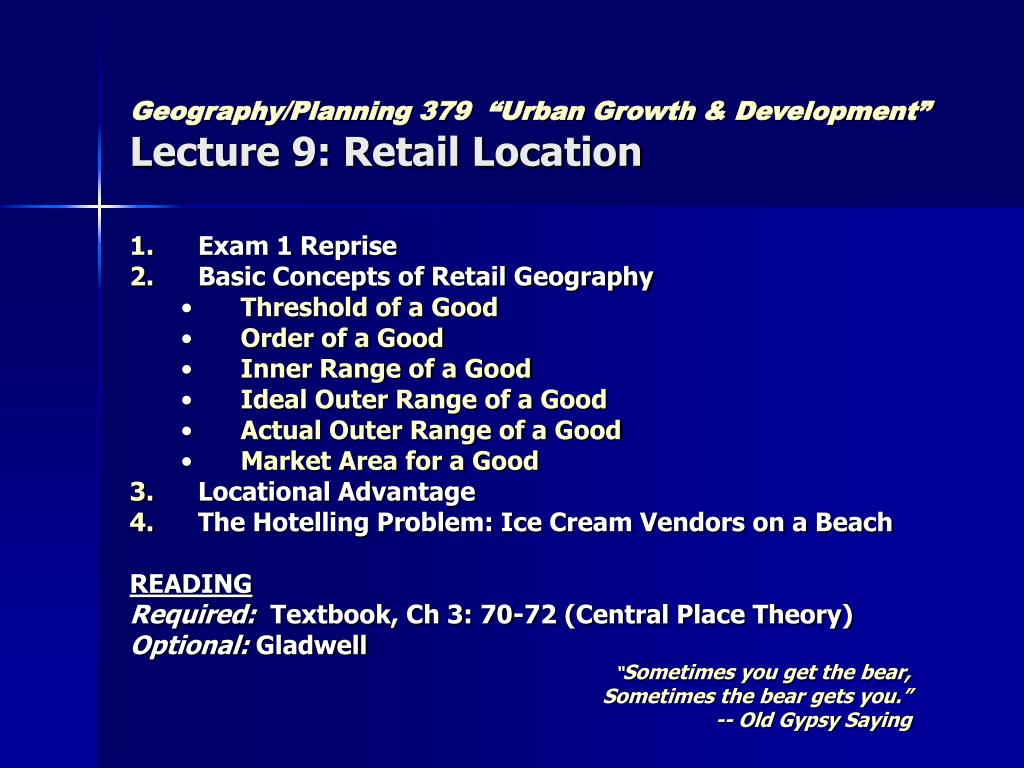 "Geography/Planning 379  ""Urban Growth & Development"""