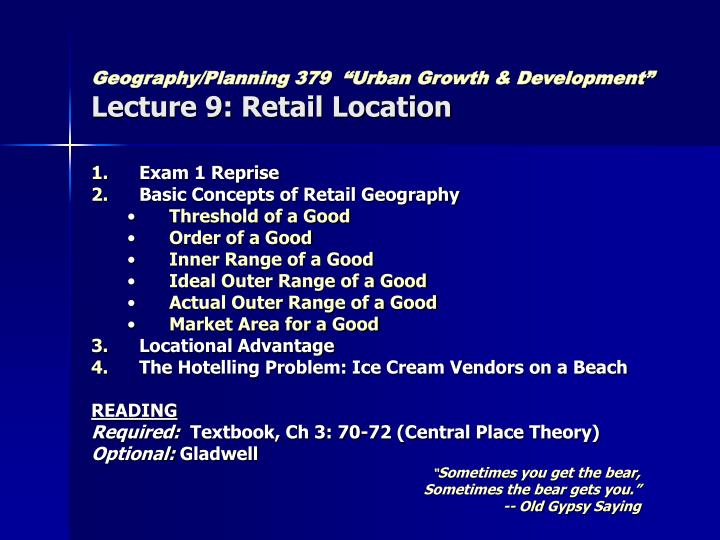 Geography planning 379 urban growth development lecture 9 retail location