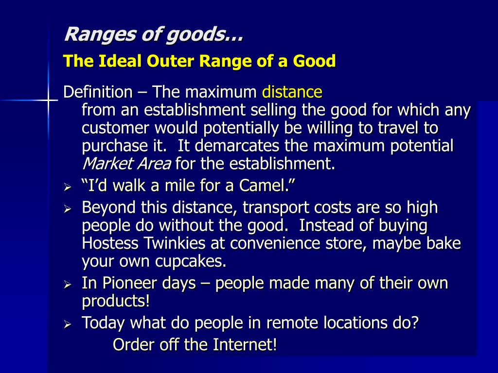 Ranges of goods…