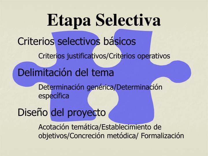 Etapa Selectiva