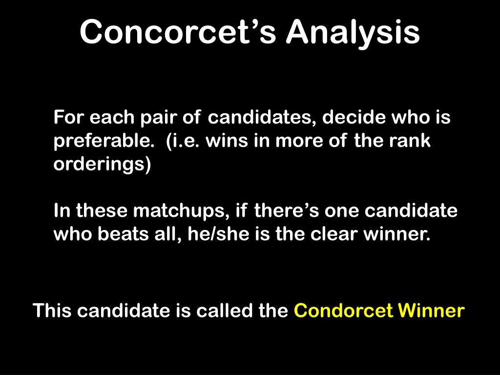 Concorcet's Analysis