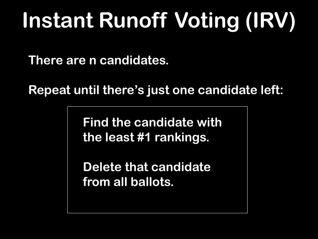 Instant Runoff Voting (IRV)