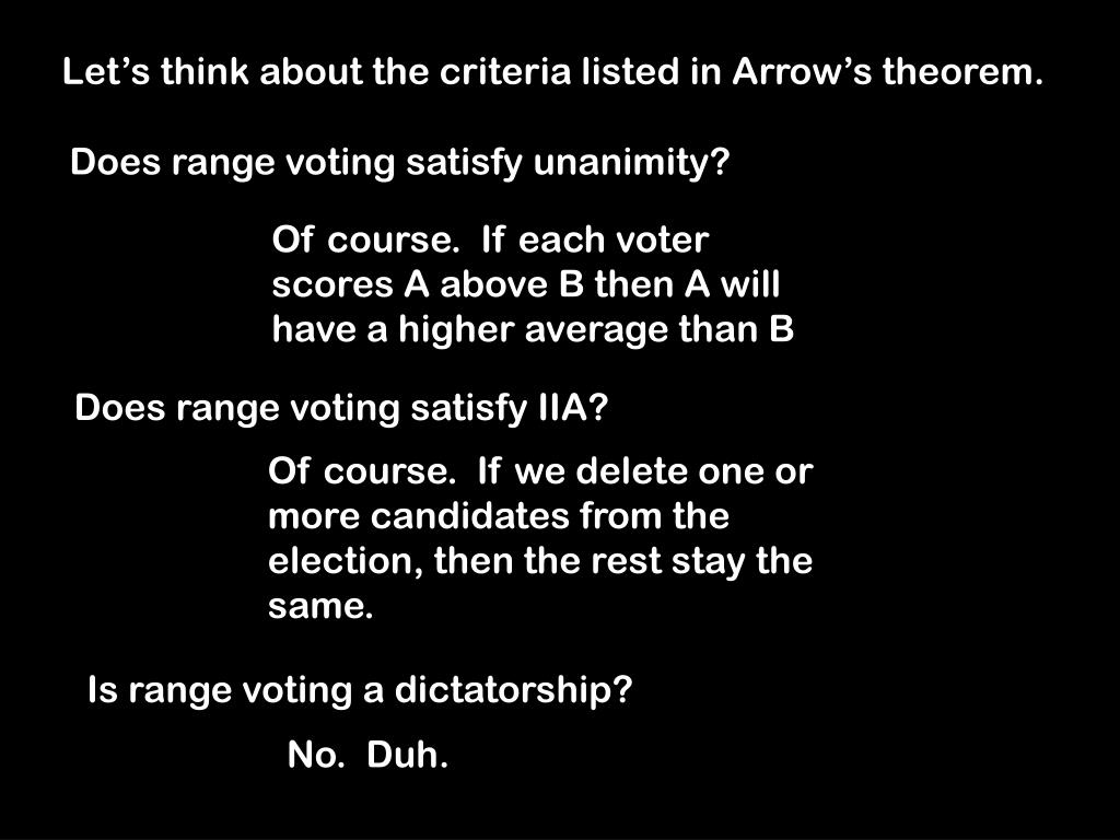 Let's think about the criteria listed in Arrow's theorem.