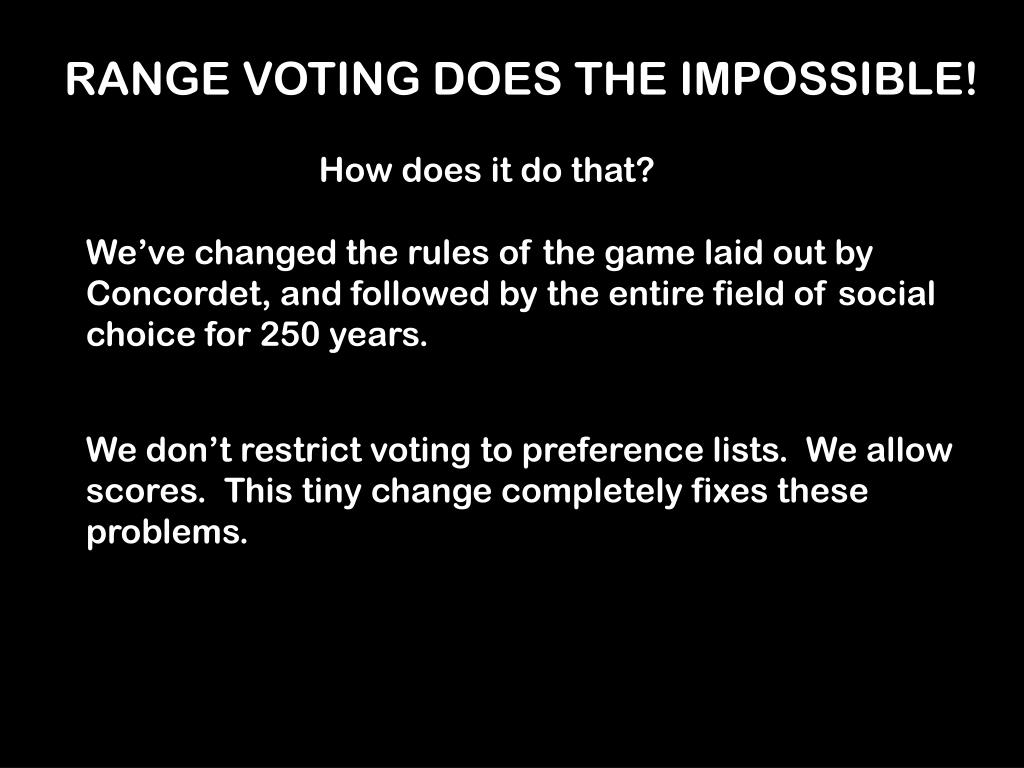 RANGE VOTING DOES THE IMPOSSIBLE!