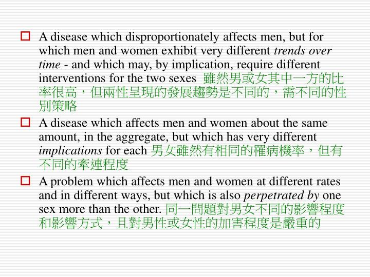A disease which disproportionately affects men, but for which men and women exhibit very different