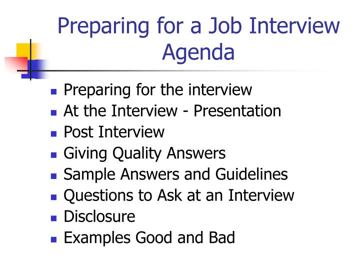 Preparing for a job interview agenda