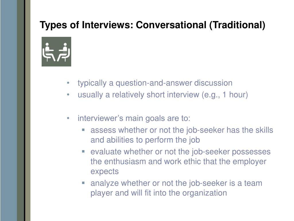 Types of Interviews: Conversational (Traditional)