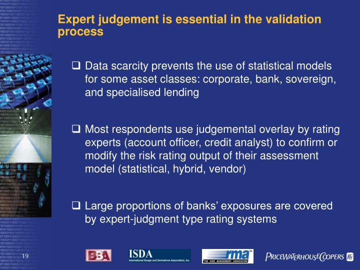 Expert judgement is essential in the validation process