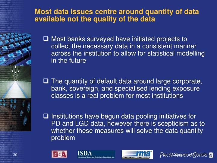 Most data issues centre around quantity of data available not the quality of the data