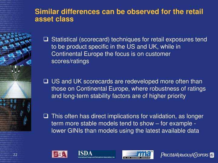 Similar differences can be observed for the retail asset class