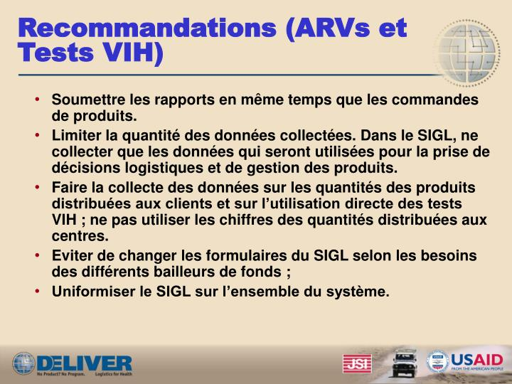Recommandations (ARVs et Tests VIH)