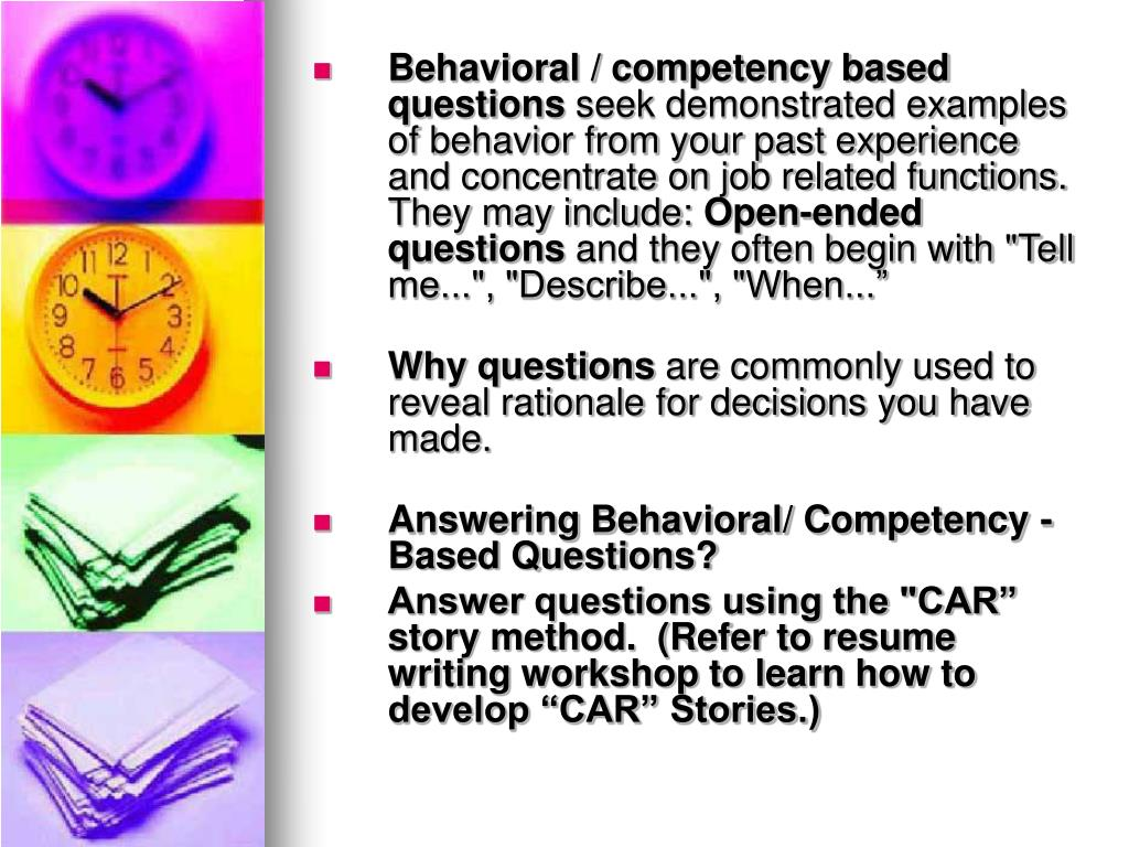 Behavioral / competency based questions