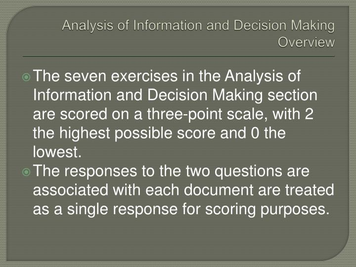 Analysis of Information and Decision