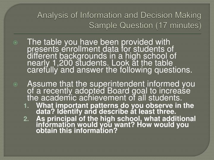 Analysis of Information and Decision Making  Sample Question (17 minutes)