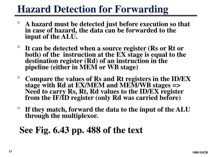 Hazard Detection for Forwarding