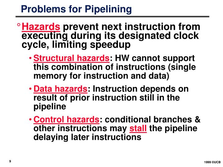 Problems for Pipelining