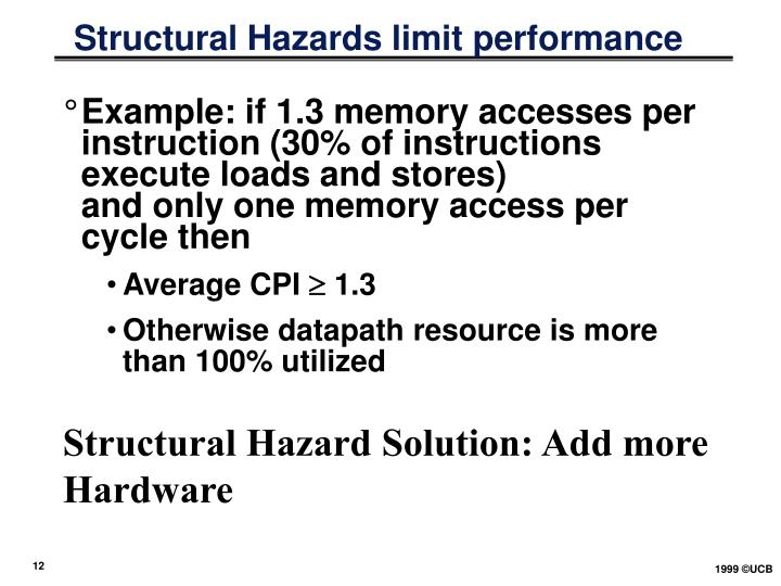 Structural Hazards limit performance