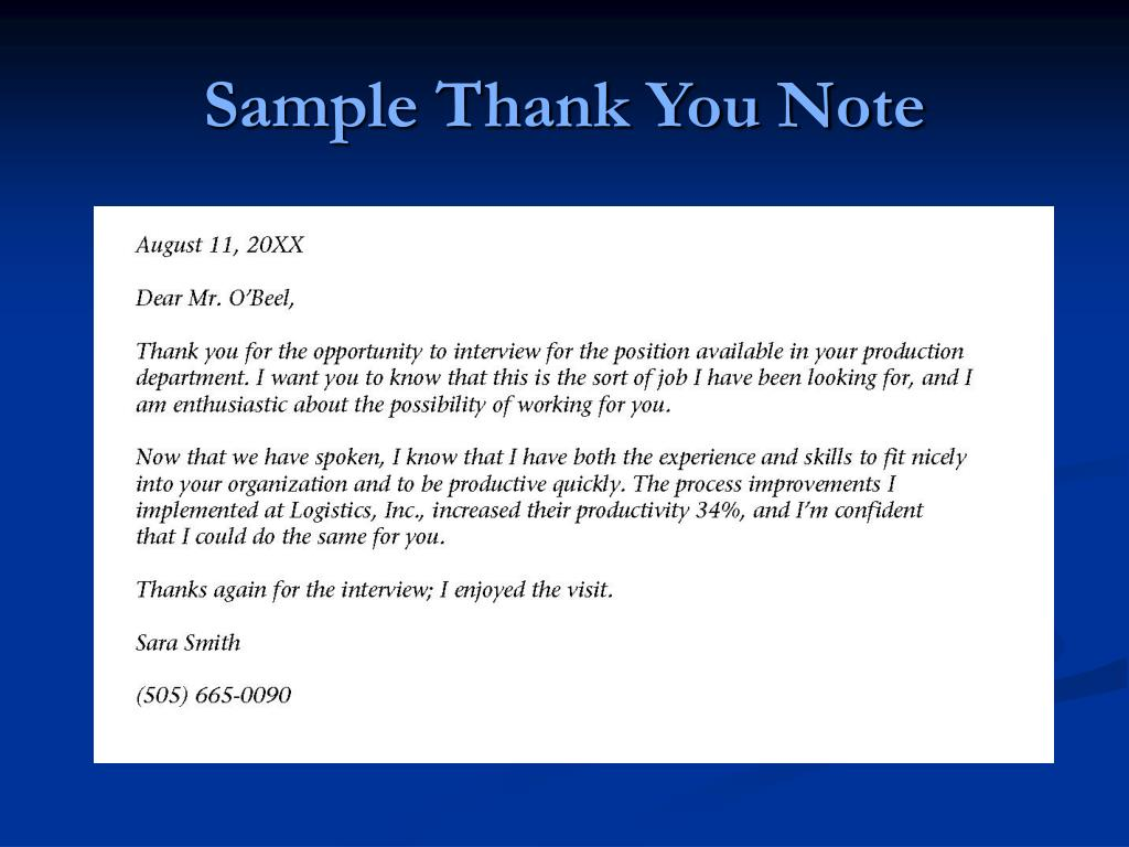 Sample Thank You Note