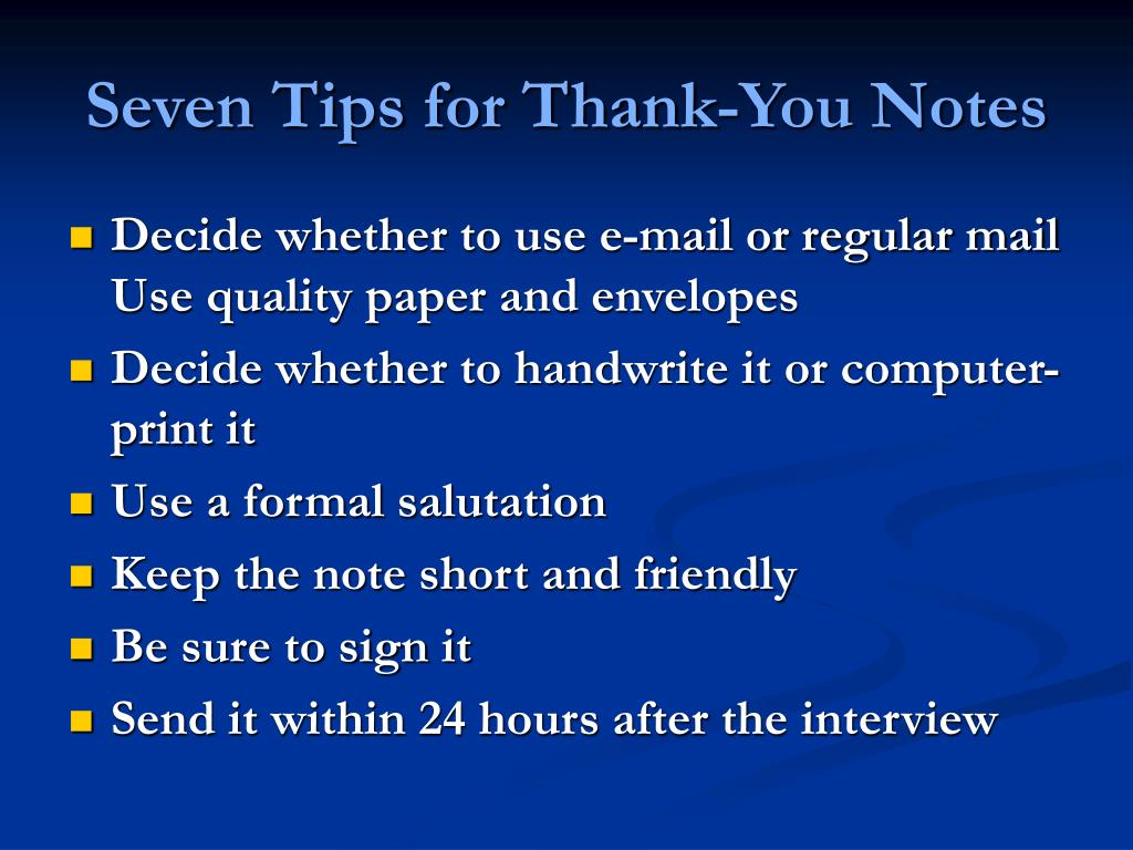 Seven Tips for Thank-You Notes