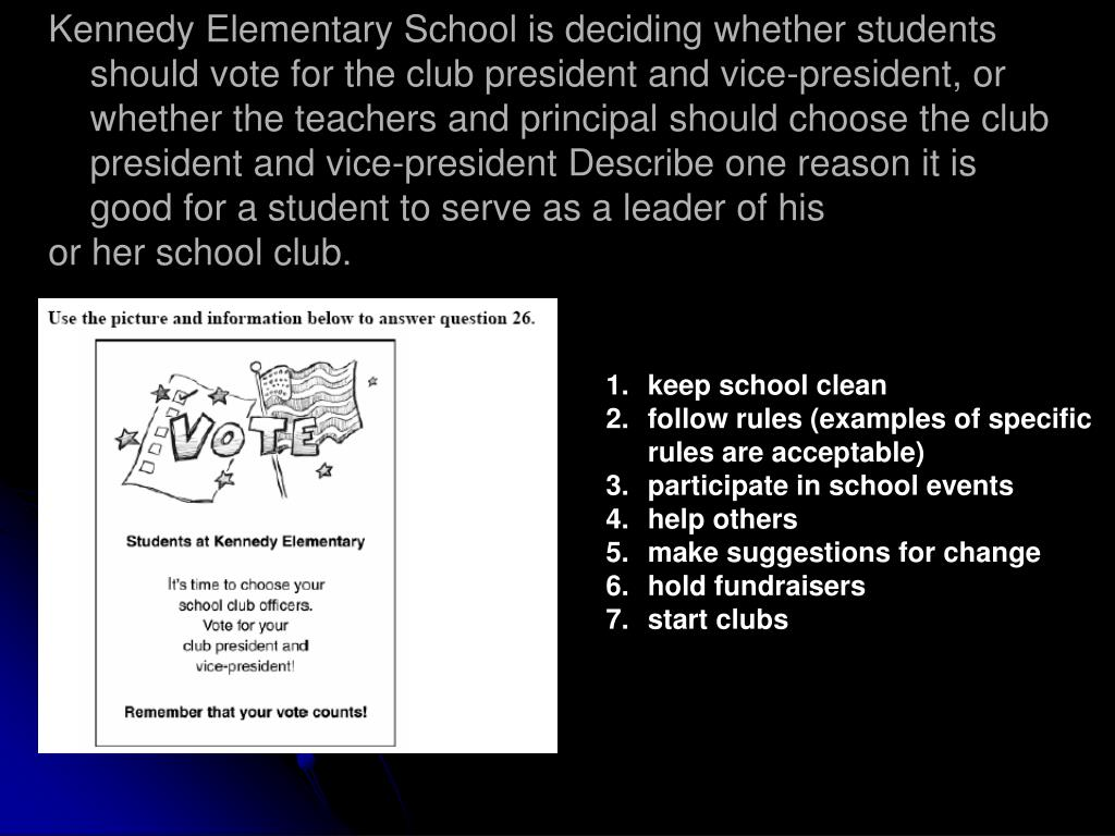 Kennedy Elementary School is deciding whether students should vote for the club president and vice-president, or whether the teachers and principal should choose the club president and vice-president